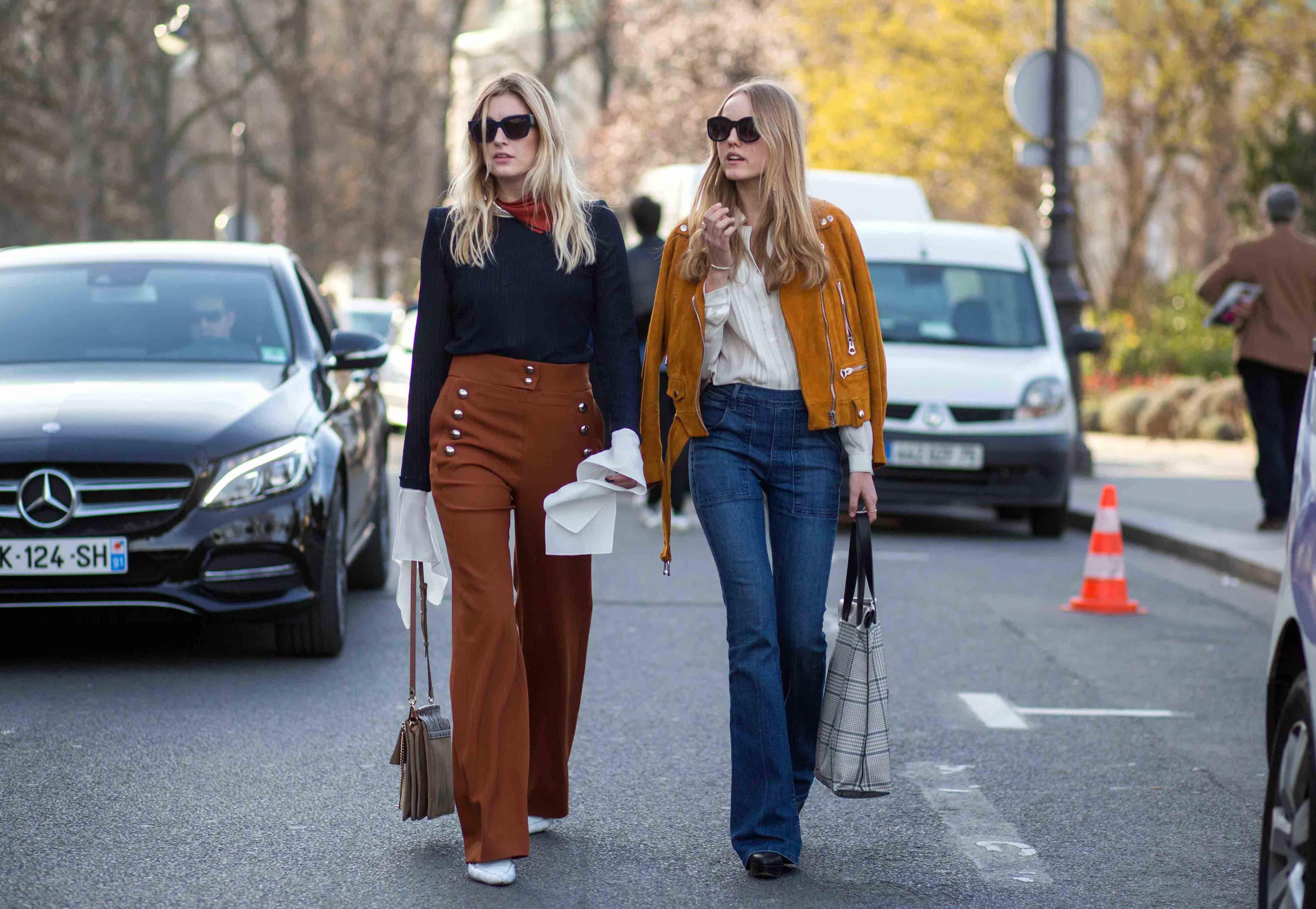 Весенний тренд: учимся носить широкие брюки