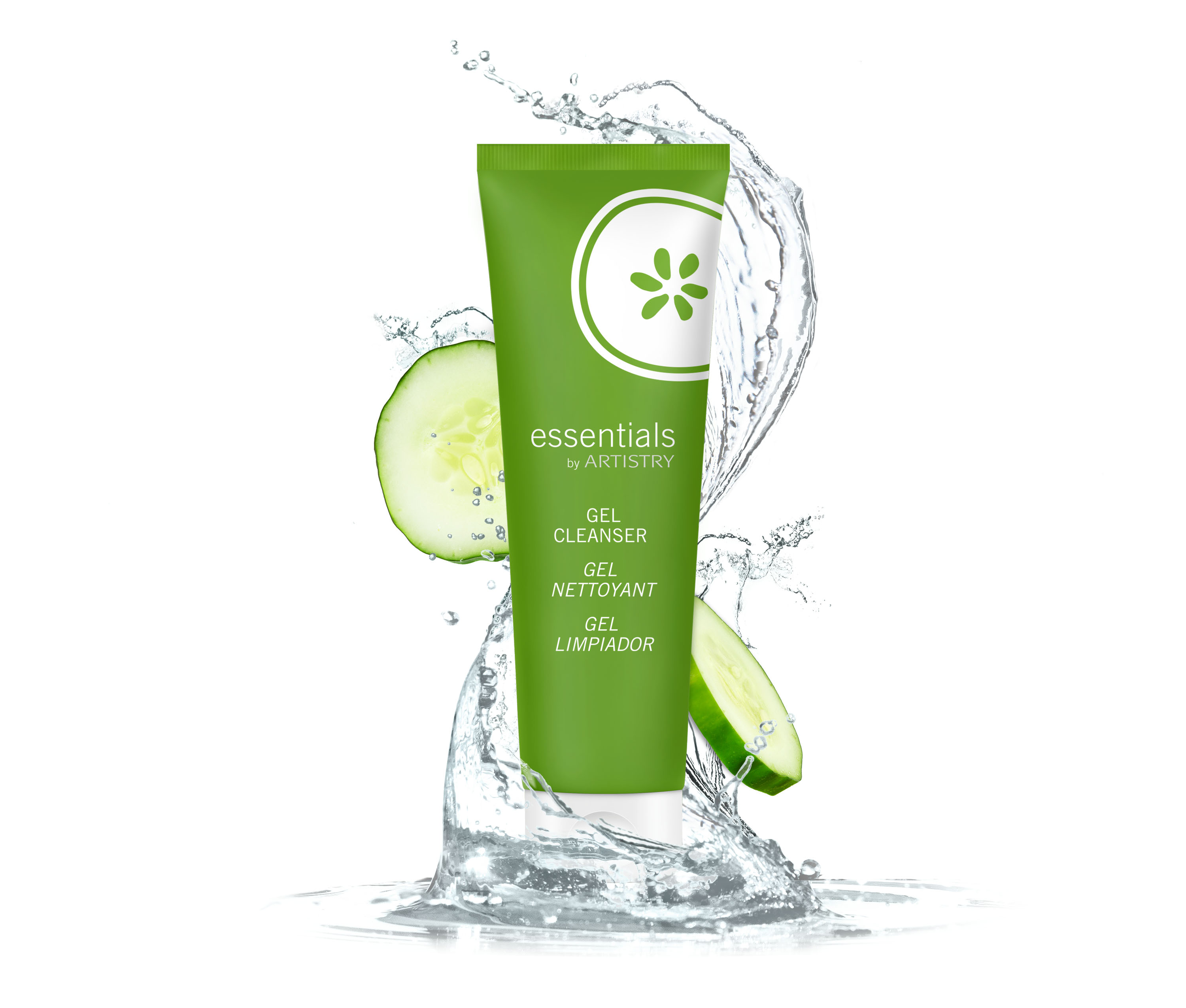 Essentials U25 Gel Cleanser Silo with water and cucumbers to support the U25 launch