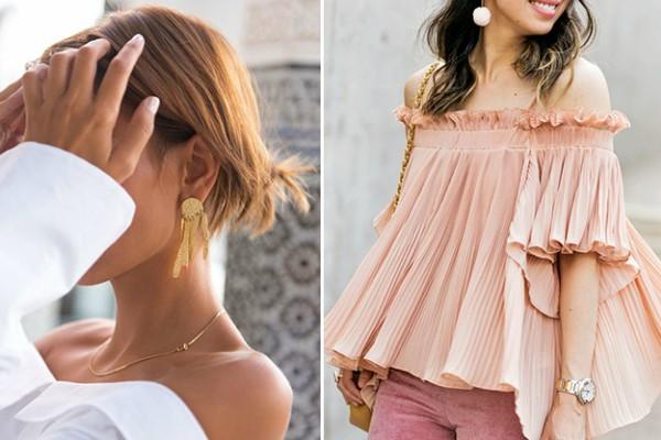 Блузки с открытыми плечами и крупные серьги