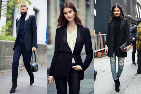 Как носить черные жакеты?