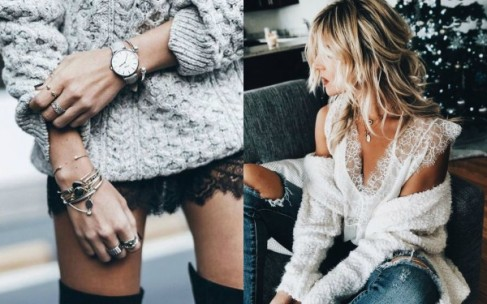 Как носить зимой свитера и кружево?