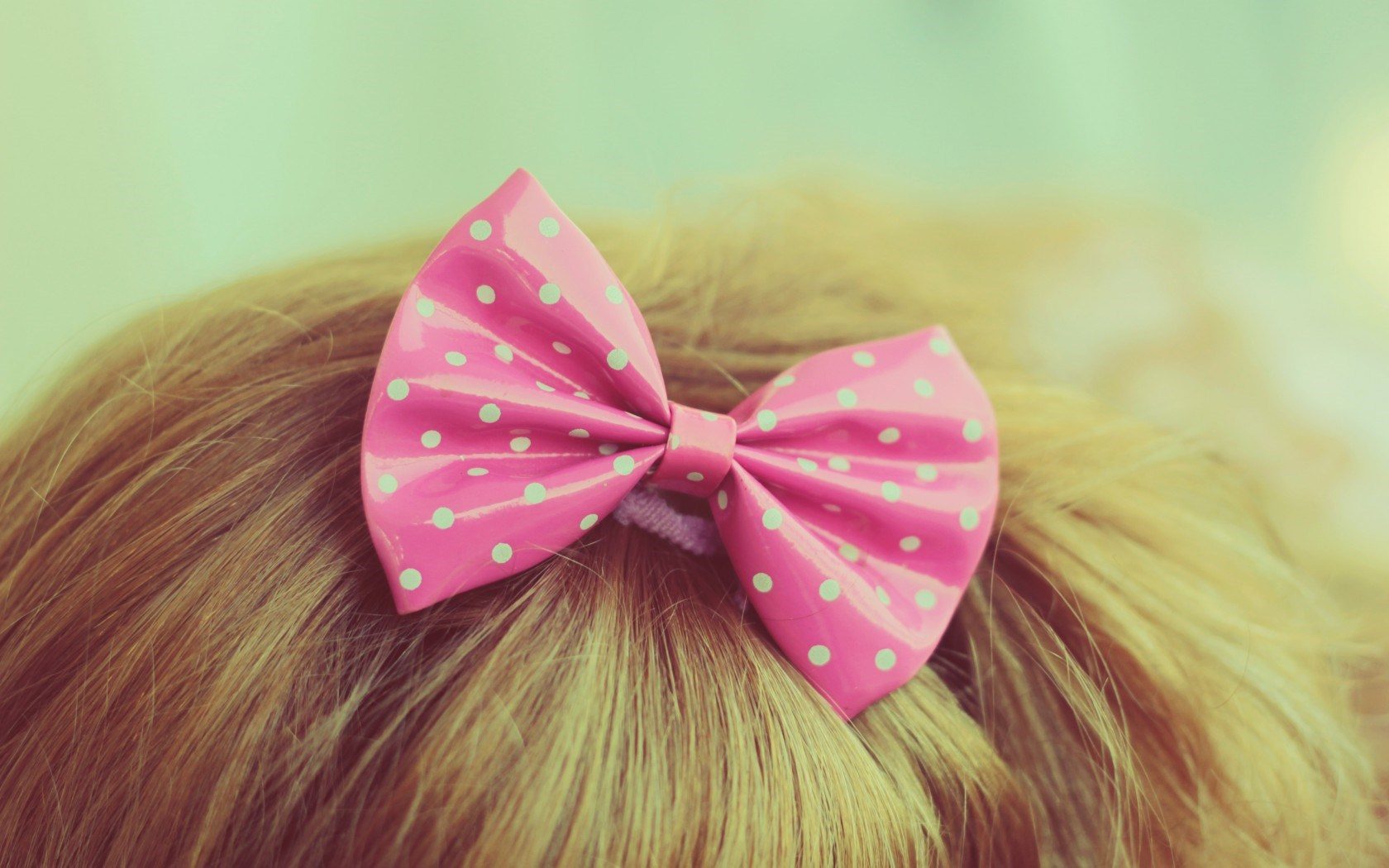 blonde-bow-polka-dots-pink-hd-wallpaper