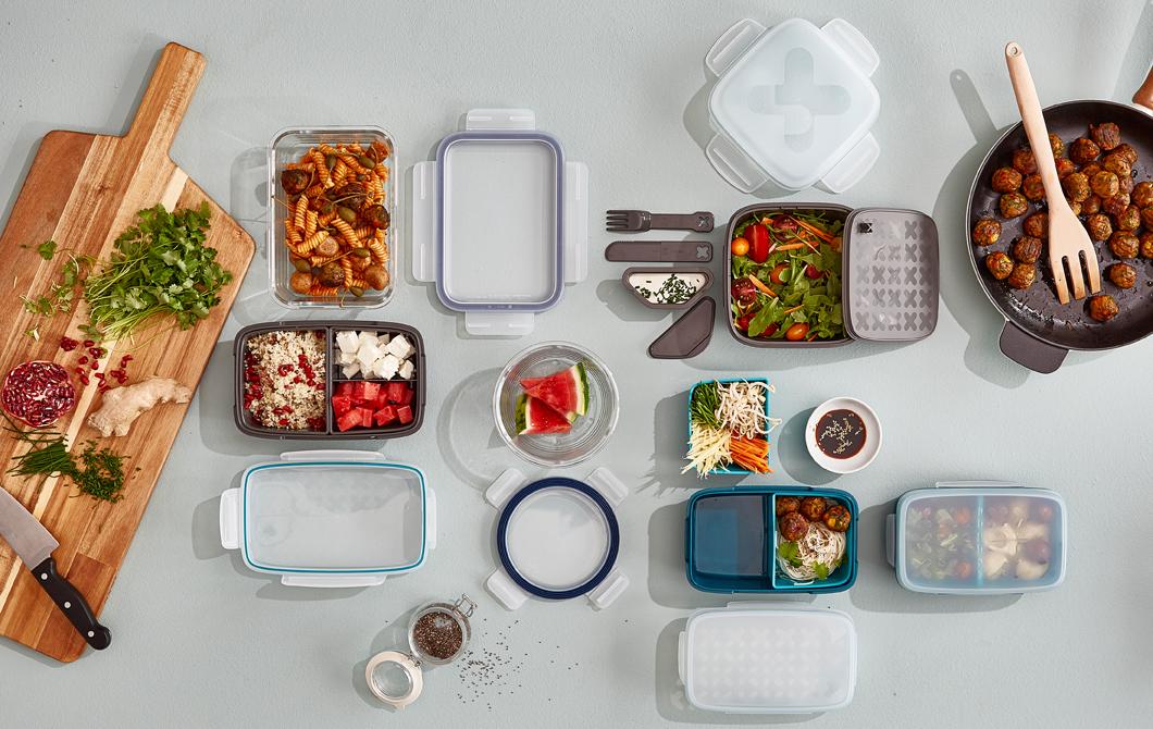 ИКЕА ФЕСТМОЛТИД пластиковый контейнер для завтрака, серый__201824_idce01a_01_PH148839