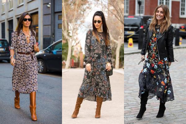 fb4213c3d Женственные платья с поясом, карманами и широкими рукавами носят в сочетании  с замшевыми сапогами или моделями из лаковой кожи.