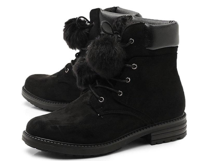 Faux Fur Pom Pom Hiker Boots