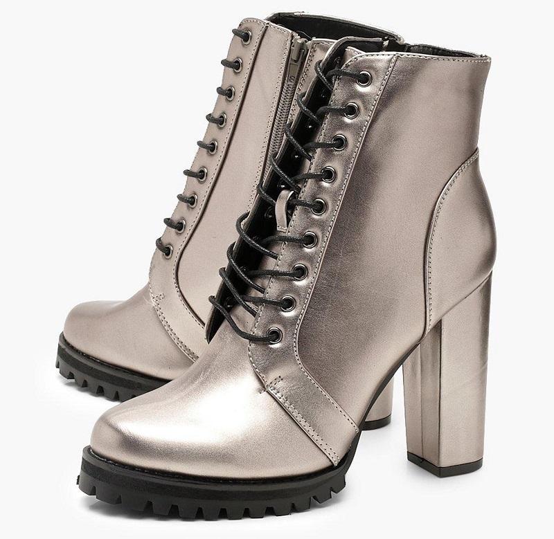Metallic Block Heel Hiker Boots