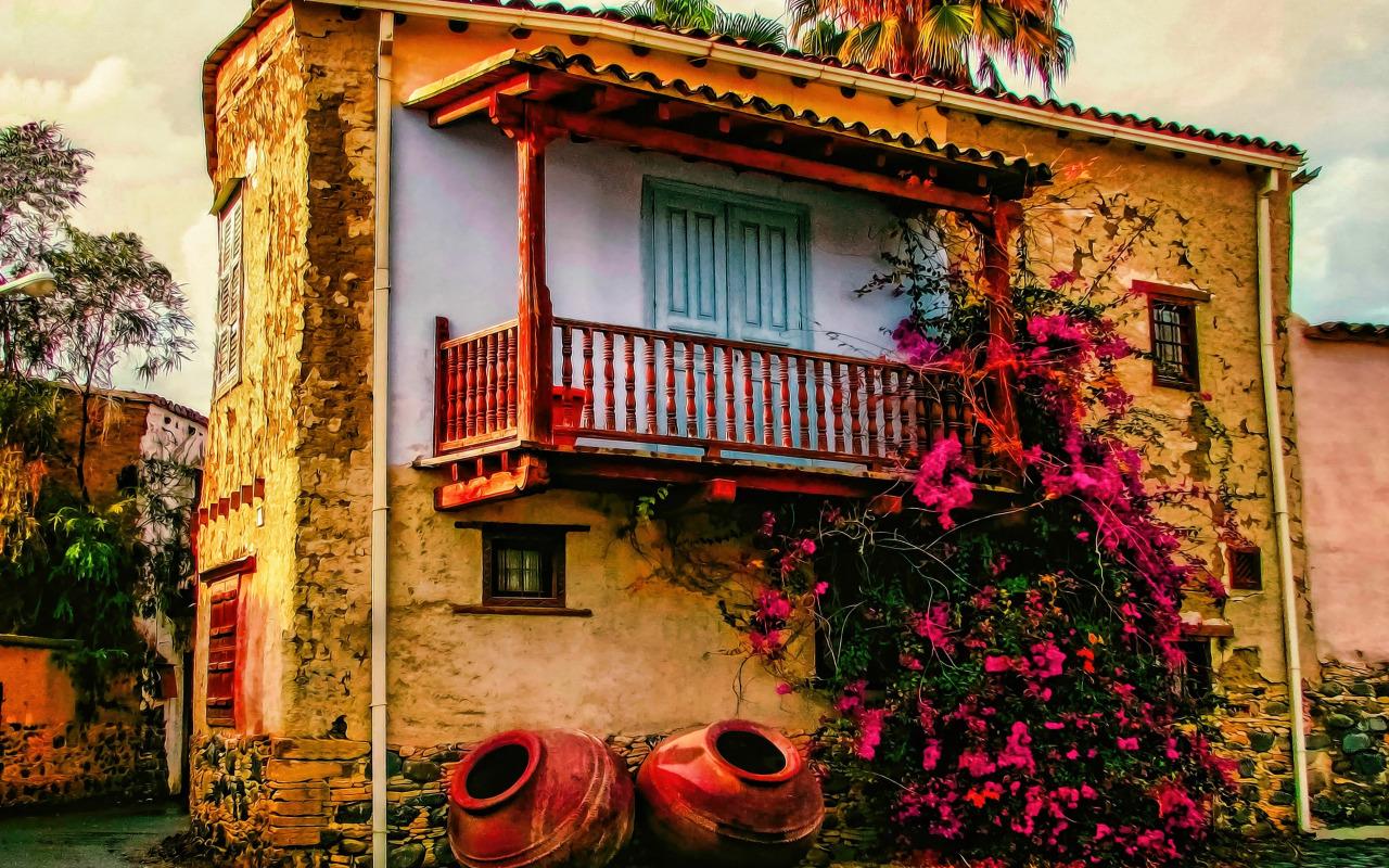 art-old-house-balcony-flowers-art-risunok-tsvety-staryi-dom