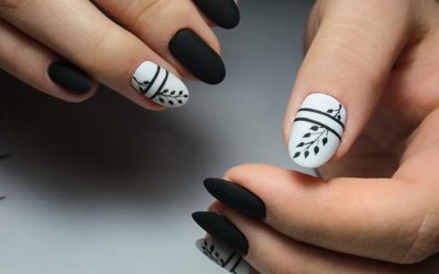 Маникюр на короткие ногти дома черно белый