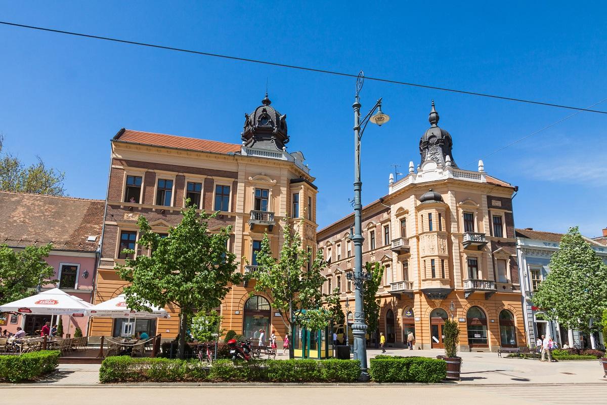 DEBRECEN HUNGARY - APRIL 29 2013: Market Street (Hungarian: Piac utca) the major street in Debrecen city Hungary