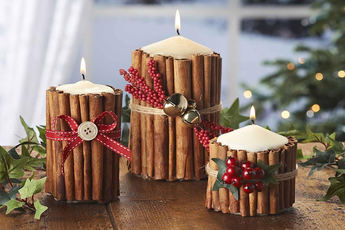 Новогоднее украшение своими руками: свеча и корица