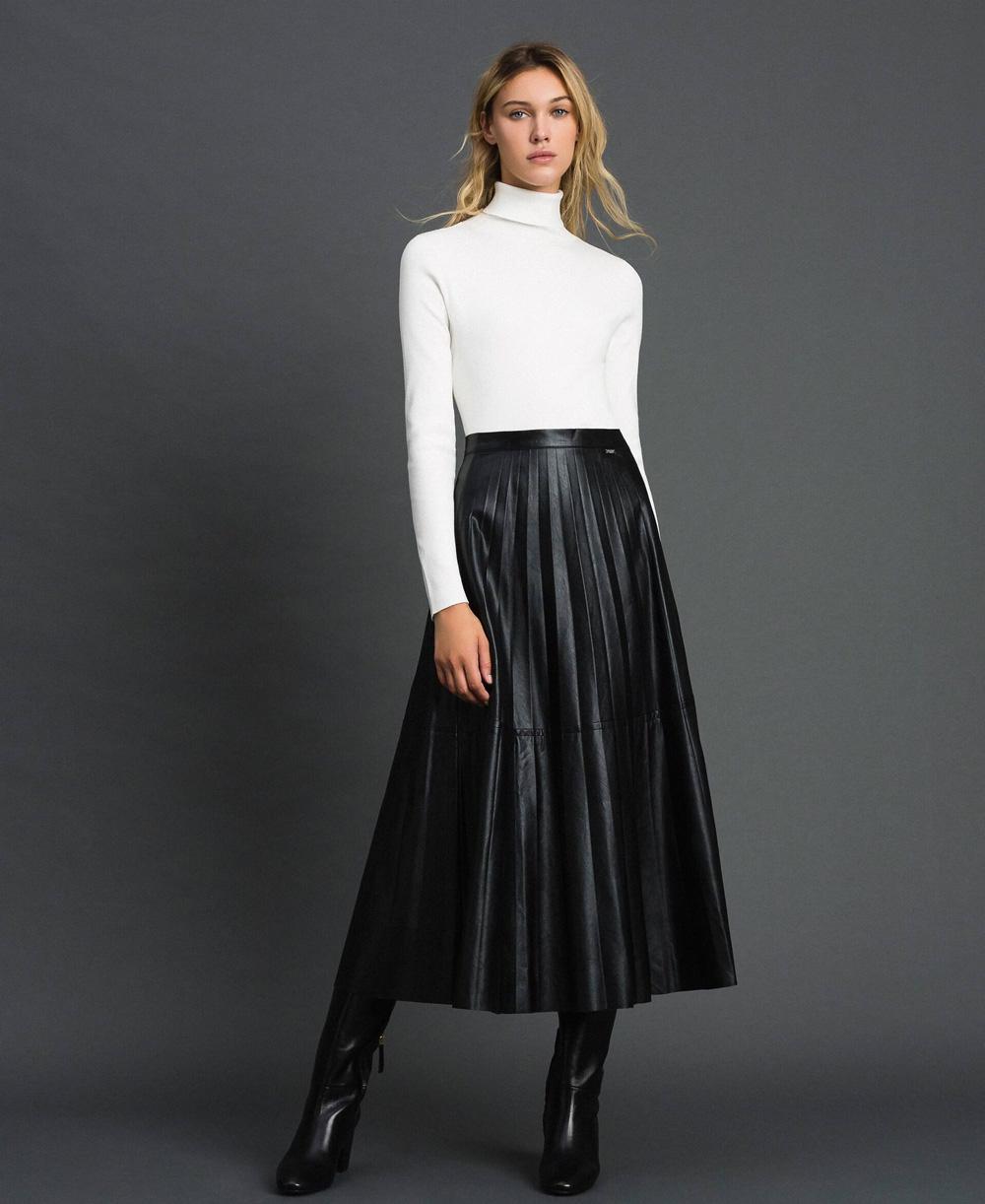 Twinset-plisirana-kožna-midi-suknja