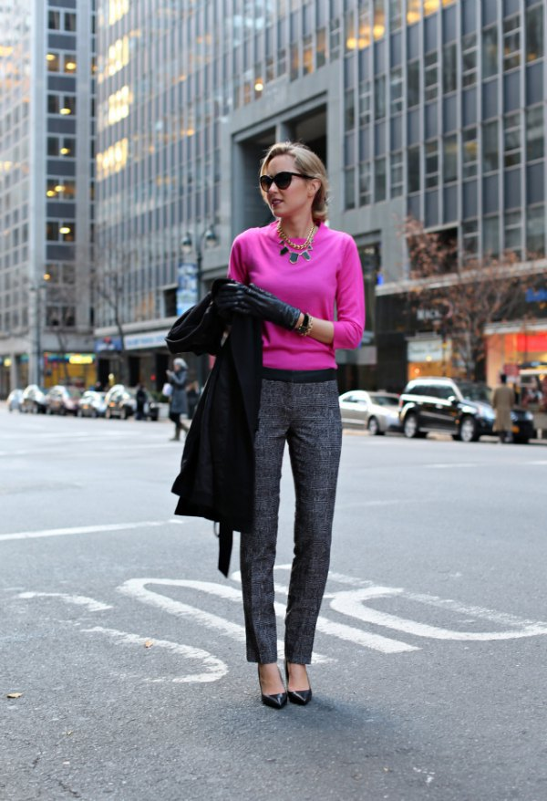 best-neon-pink-sweater-grey-tweed-pants