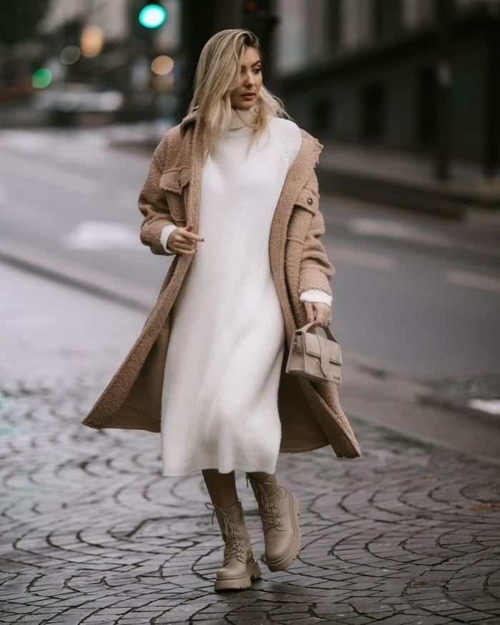 Как носить платье-свитер зимой?
